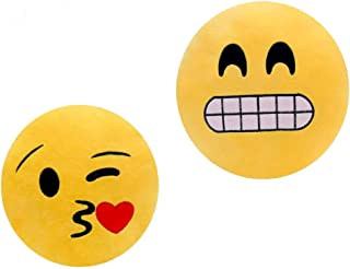 ML Pack 2 x Cojín Emoji Sonrisa, Almohada Emoji Emoticon Relleno Suave Juguete de Peluche 35x35x5cm Cada uno (amrillo-Beso-gruñon)