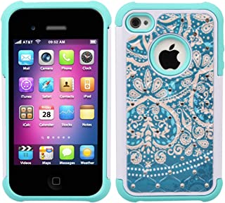 iPhone 4s Case, iPhone 4 Case, 4s Case, MagicSky [Shock Absorption] Studded Rhinestone Bling Hybrid Dual Layer Armor Defender Protective Case Cover for Apple iPhone 4/4S - Flower2