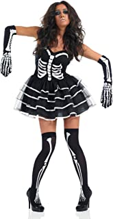 Ladies Sexy Skeleton Tutu & Stockings Halloween Fancy Dress Costume Outfit with Gloves & Stockings 8-22 Plus Size