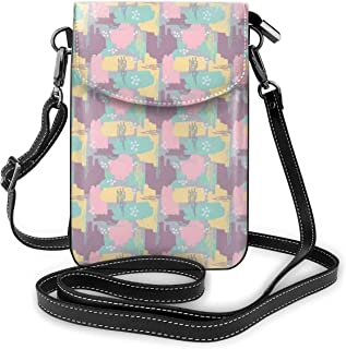 Women Small Cell Phone Purse Crossbody,Pastel Color 90s Retro Memphis Style Paint Brush Stroked Funky Conceptual Pattern