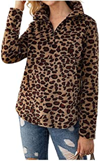 HEFASDM Women Coat Jacket Printed Long Sleeve Outwear Leopard Tees Top