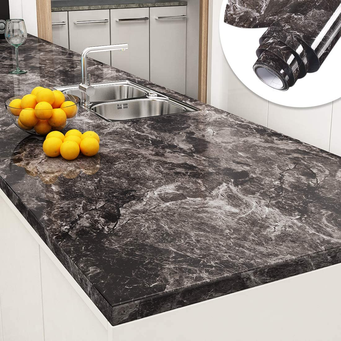 Yenhome Faux Marble Counter Top Covers Peel and Stick 9 x 9 inch  Sandstone Black Brown Marble Wallpaper for Countertop Peel and Stick  Wallpaper ...