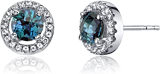 14K White Gold Created Alexandrite Halo Earrings Round Checkerboard Cut 1.00 Carats