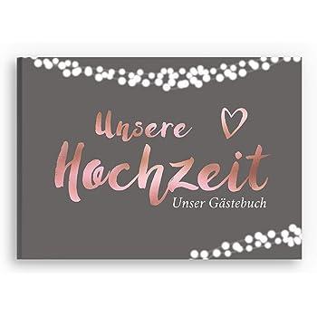 bigdaygraphix Gästebuch Hochzeit Hochzeitsbuch mit Fragen A4 quer Rosegold Grau Edel