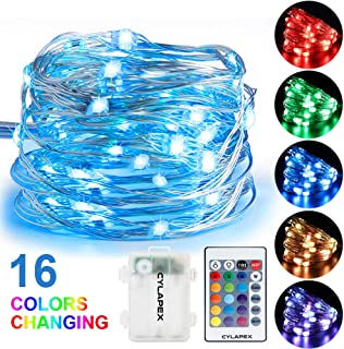 CYLAPEX Fairy String Multicolor Changing Twinkle Lights with Remote, 16.4FT with 50 LEDs Battery Operated String Lights, Waterproof Indoor Copper Wire Decorative Lights for Bedroom Christmas Patio