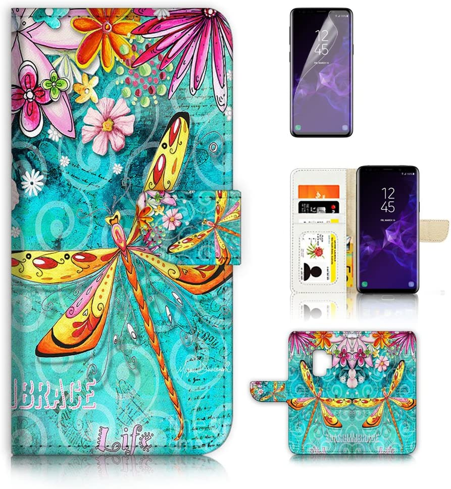 (for Samsung Galaxy S9) Flip Wallet Case Cover & Screen Protector Bundle - A21095 Dragonfly