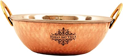 Indian Art Villa Steel Copper Kadai Kadhai Wok Bowl, Serving Indian Dishes,Tableware, 700 ML