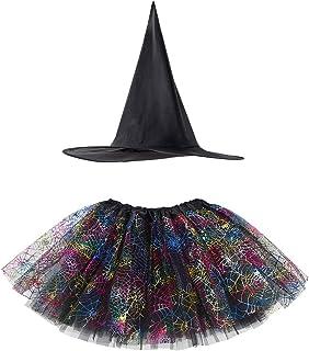 Aislor Déguisement Sorcière Enfant Fille Tutu Jupe Danse Classique + Chapeau Ensemble de Sorcière Halloween Carnaval Cospl...