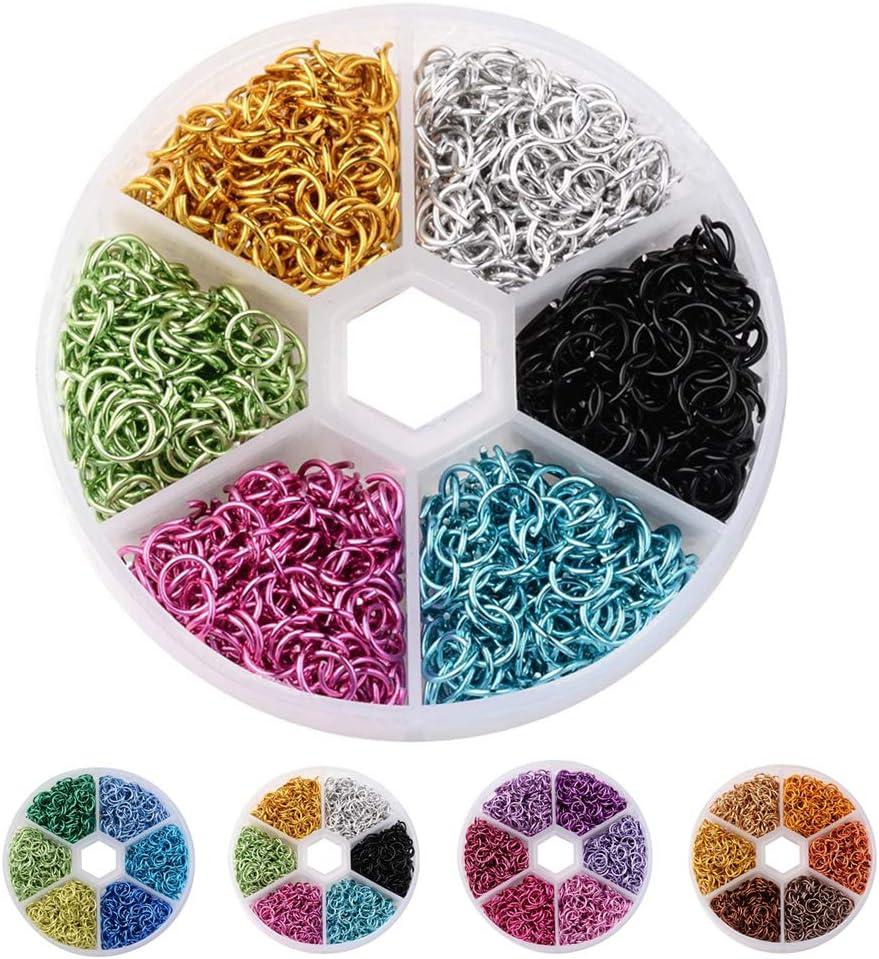 Guangcailun 6 mm Ferm/é Cercle color/é Anneaux plaqu/é Lien Boucles pour Les Bijoux de Bricolage Connecteurs Fabrication