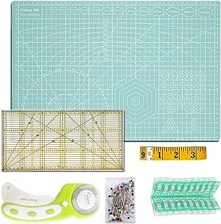 O'woda Alfombrilla de Corte A3 (45x30 cm) + Cúter Giratorio + Patchwork de Regla + Cinta Métrica + Abrazadera de Plástico (20 unidades) + Alfileres (40 unidades), 6 piezas Juego de patchwork