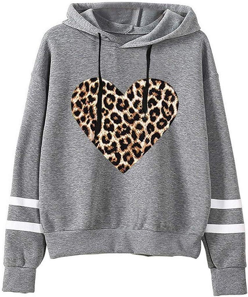 Comfy Hoodie for Women Heart Print Sweatshirt Long Sleeve Pullover Blouse Parallel Bars Stripe Tops