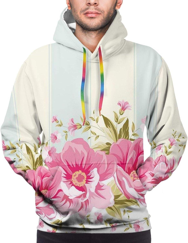 Men's Hoodies Sweatshirts,Pink Morning Glory Flowers Springtime in Japan Theme Arrangement