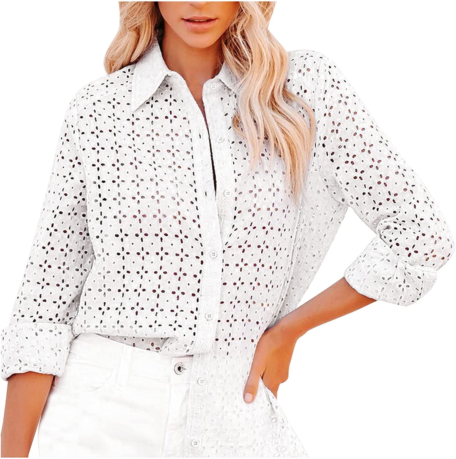 Eyelet Tops for Womens Sexy See Through Blouse Lapel Crochet Tshirts Casual Long Sleeve T Shirts Button Up Tees