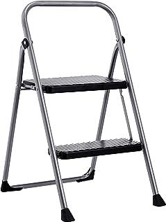AmazonBasics Folding Step Stool - 2-Step, Steel, 200-Pound Capacity, Grey and Black