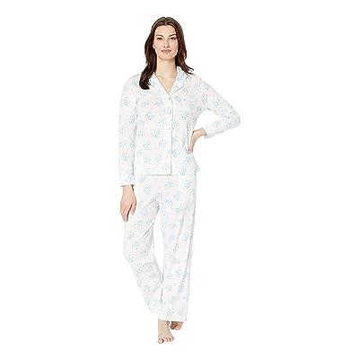 Carole Hochman Notch Collar Pajama Set (White Floral Bunches) Women