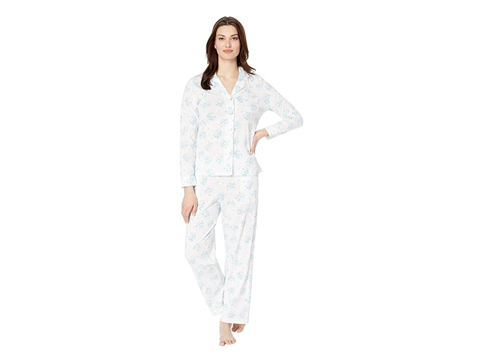 Carole Hochman Notch Collar Pajama Set (White Floral Bunches) Women
