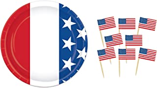 """Patriotic/Red,White, and Blue 7"""" Dessert Plates (24) and American Flag Picks (50) Party Bundle"""