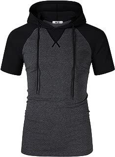 Men's Long Sleeve Raglan Henley Jersey Hoodie Shirt