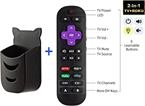Universal Remote Control for Roku Player with 9 More Learning Keys to Control TV Soundbar Receiver All in One (Not for Roku Stick) (Remote with Black Holder)