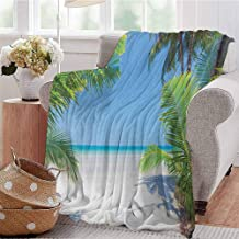 Luoiaax Ocean Children's Blanket Palm Leaves and Tropical Beach Coastline Seashore Vacation Theme Photo Lightweight Soft Warm and Comfortable W91 x L60 Inch Green Sky Blue White