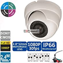 2MP 1080p HD-CVI/HD-TVI/HD-AHD Motorized Zoom Dome Security Camera - 100' IR - 2.8-12mm Motorized Zoom Lens - High Definition Security Recording over Coax Cable