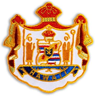 Hawaiian Coat of Arms 2 Iron-On Embroidery Applique Patch, 2.5