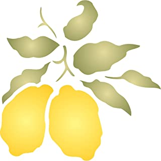 """Lemon Stencil - (size 6.5""""w x 6.5""""h) Reusable Wall Stencils for Painting - Best Quality Fruit Kitchen Stencil Ideas - Use on Walls, Floors, Fabrics, Glass, Wood, Terracotta, and More…"""