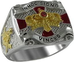 UNIQABLE Knights Templar Cross and Crown Masonic Freemason Men Ring Sterling Silver 925 18K Gold Plated KTR006