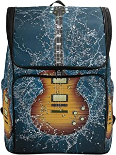 Naanle Stylish Electric Guitar in Water Casual Daypack College Students Multipurpose Backpack Large Travel Hiking Bags Computer Bag for Men Women