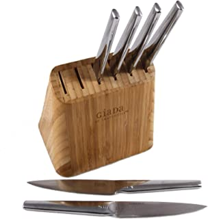 Giada De Laurentiis Steak Knives with Bamboo Block, 4.5 Inch, Set of Six