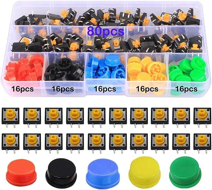 12 opiniones para GTIWUNG 160 Piezas 12 x 12 x 7.3 mm Interruptor de Boton Momentaneo Tactil,