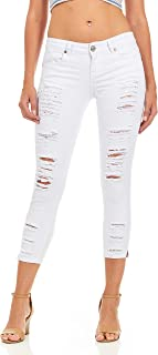 Cover Girl Women's Cropped Ripped Distressed Skinny Jeans Junior Plus