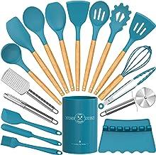 Silicone Cooking Utensils Set-Fungun Heat Resistant Kitchen Utensils with Holder,Turner Tongs, Spatula, Pizza Cutter, Grat...