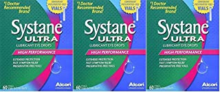 Systane Ultra Lubricant Eye Drops, 60 Vials, Pack of 3, 180 Vials Total, Preservative-Free, 0.7-mL Each