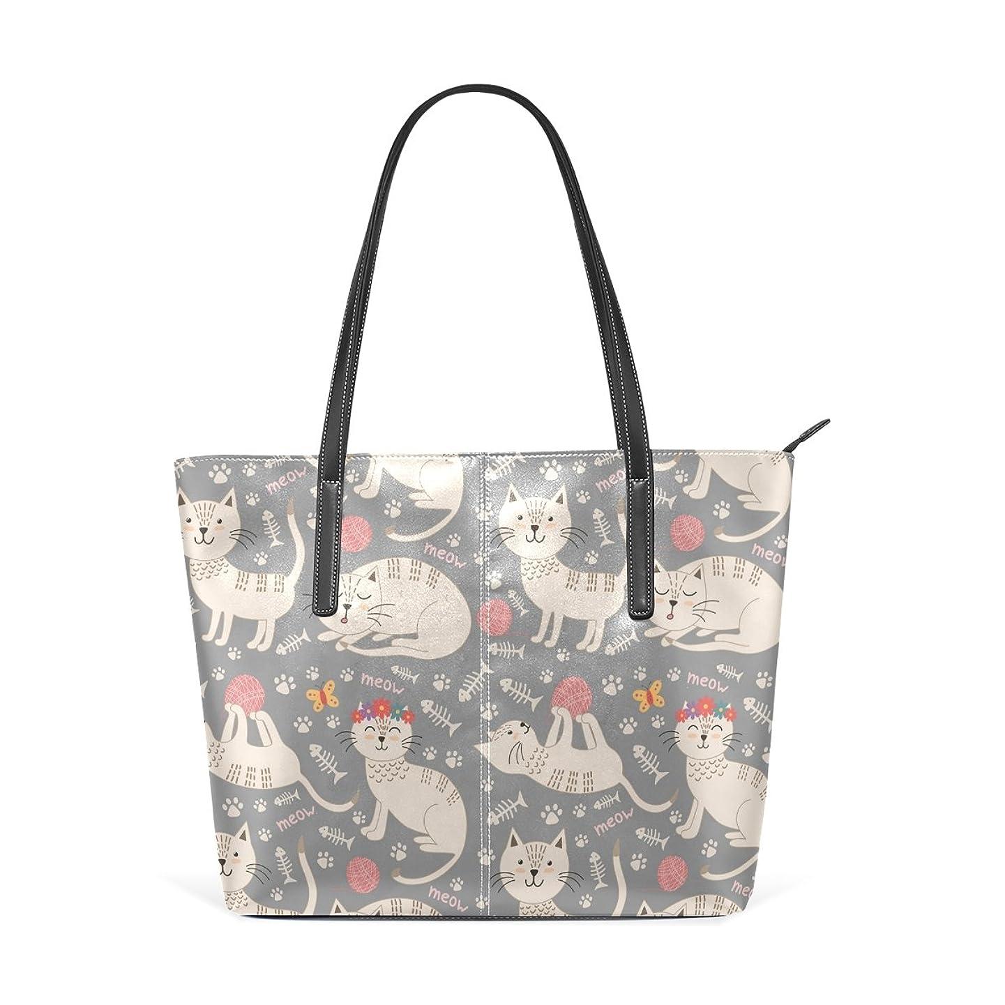 解決大工物語バララ(La Rose) トートバッグ レディース PU レザー a4 通勤 通学 肩掛け 大容量 かわいい ねこ 猫柄 ハンドバッグ 高校生 丈夫 軽量 2way ファスナー付き ママかばん 手提げバッグ ビジネスバッグ