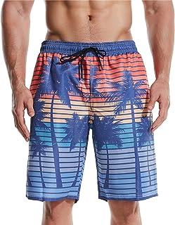 Honeystore Men's Cool Board Short Hawaiian Prints Quick Dry Beachwear Swimtrunks