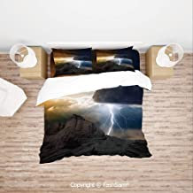 FashSam 4 Piece Bedding Sets Breathable Thunder Rays from Dark Clouds Hitting to The Mountain Storm Theme Art Print for Home(King)