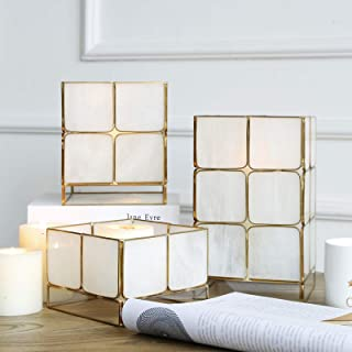 Cyl Home Candle Lanterns Tiffany Stained Bubbled Glass Brass Frame Hanging Hurricane Tea Light Holder Lamp Cube Centerpiece Accent Gift Wedding Housewarming Tea Party, White, 3.9'' H x 5.9'' D