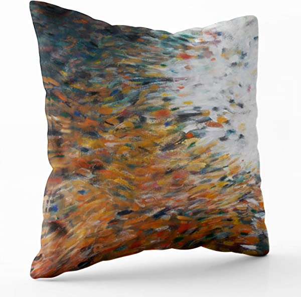 Shorping Zippered Pillow Covers Pillowcases 18X18 Inch Christmas Art Painting Teal Decorative Throw Pillow Cover Pillow Cases Cushion Cover For Home Sofa Bedding