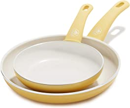 """GreenLife Soft Grip Healthy Ceramic Nonstick Yellow Frying Pan/Skillet Set, 7"""" and 10"""""""