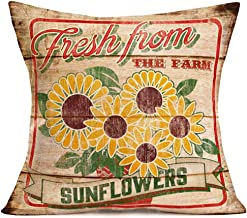 Asamour Sunflower Farm Pillow Covers Cotton Linen Outdoor Home Decor Cushion Covers Sunflowers Fresh from The Farm Decorative Flower Market Pillow Case for Sofa Couch 18''x18'',Rustic Wood Grain
