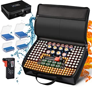Battery Organizer Storage Case, Fireproof Waterproof Explosionproof Safe Carrying Bag Hard Holder Box with Battery Tester ...