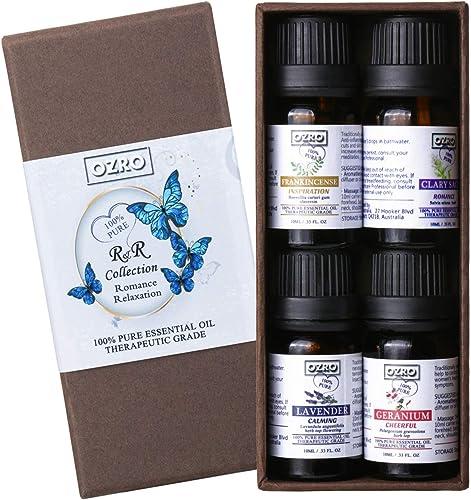 OZRO Top 4 Aromatherapy Essential Oils set - Lavender, Geranium, Clary Sage, Frankincense - Romance & Relaxation Coll...
