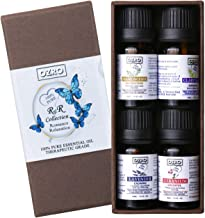 OZRO Top 4 Aromatherapy Essential Oils set - Lavender, Geranium, Clary Sage, Frankincense - Romance & Relaxation Collection - Therapeutic Grade 100% Pure Essential oil for Aroma Diffuser, Warmer, Burner and Humidifier (R&R 4 x 10 ml)
