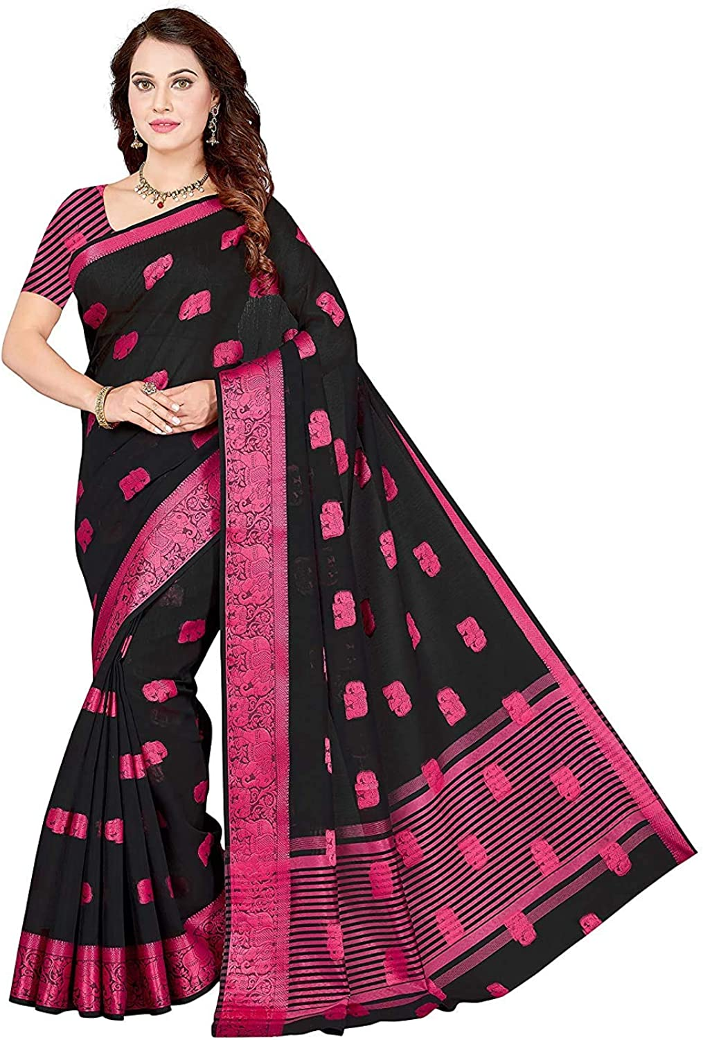 Max 55% OFF Women's Poly Chicago Mall Cotton Woven Saree Unstitched with Piece Ind Blouse