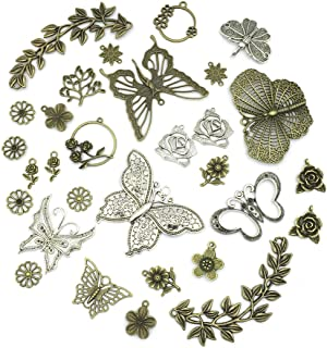 JIALEEY Large Butterfly Leaf Charms Beads Necklace Pendants DIY for Jewelry Making and Crafting, 29pcs Mixed Bronze & Silver