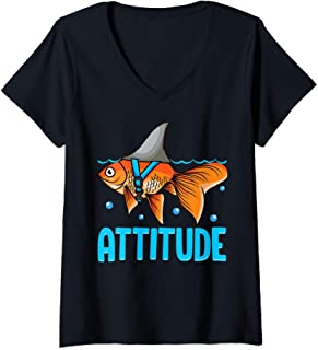 Femme Attitude of a Shark Fish Confidence Funny Self Belief Pun T-Shirt avec Col en V