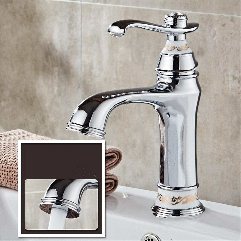 Hlluya Professional Sink Mixer Tap Kitchen Faucet The copper basin faucet Bathroom Cabinet wash basin mixer Silver Ceramic Faucet