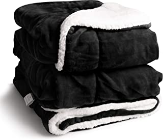 EDOW Faux Sherpa FlannelThrow Blanket, 600GSM Thickened Reversible Soft Fleece Blanket for Couch, Sofa, Bed. (Black, Twin(60