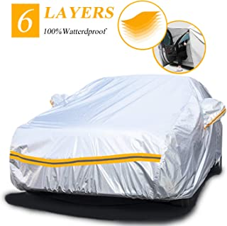 Car Covers Waterproof,Car Cover for Sedan 6 Layers Outdoor Protection Universal Full Cover with Zipper A3-3XXL(Fits Sedan 194